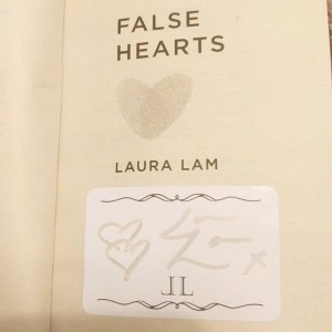 Example of a signed bookplate in False Hearts